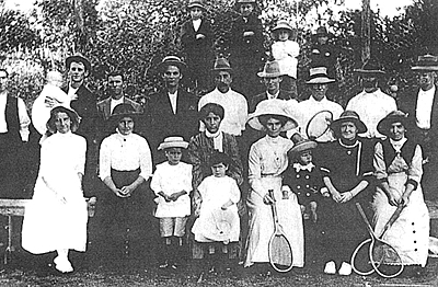 P10185 Group of people playing tennis at Rossville Tennis Club, c1914