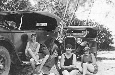 P15937 Group of young women in swimming costumes at Palm Beach Mossman 1928