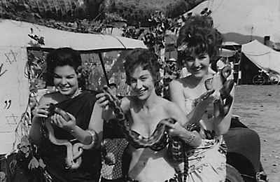 "P20109 Diane Graham, Judith Gamble and Jan Lyons help promote a local zoo, Cairns ""Fun in the Sun"" float, 1963. Donor: Judith Gamble"
