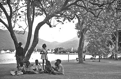 P15880. Happy group on Cairns Esplanade 1971