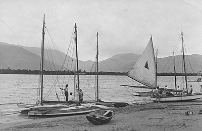 P17570. Sailing boats Cairns Esplanade Aquatic Club- Dunwoodys Gap in background in 1920s