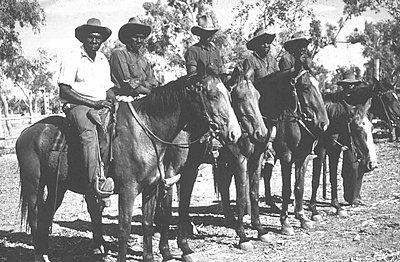 P15815. Stockmen at Kowanyama, then called Mitchell River Mission, 1960s