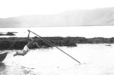 P14921. Nelem Kris using a harpoon, 1963