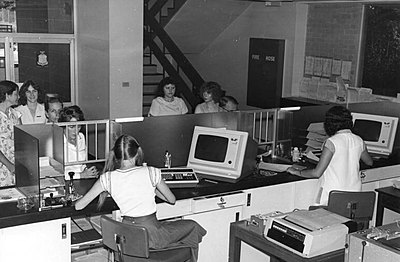 P20735. Early computer use for registration operations at Cairns District office Department of Main Roads, June 1979